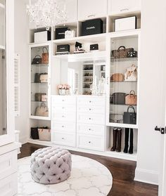 master closet with crystal chandelier Happy Friday, everyone! I'm so excited to FINALLY share my completed master closet renovation with California Closets today! Walk In Closet Design, Closet Designs, Master Closet Design, Closet Vanity, Closet Mirror, Chandelier In Closet, Closet Lighting, Dressing Room Design, Dressing Room Closet