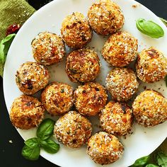 10-ingredient vegan meatballs infused with sun-dried tomato and basil! Savory, simple, and full of protein and fiber. The perfect healthy, plant-based meal!