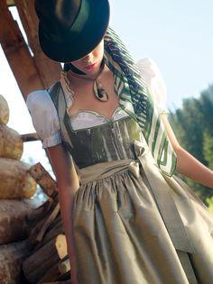 Earthy, beautiful woodland hues. #German #Austrian #folk #costume #dirndl #tracht #dress #green #hat