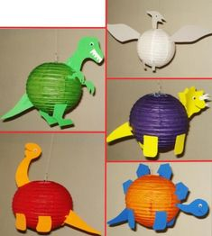Dinosaur paper lanterns This Paper Lantern is handmade, Measures approximately 8 inches in diameter. fins are attached using foamy. You will just need to insert the expander and instructions will be included. This listing is for 5 Paper Lanterns. Everything is assembled and Ready to