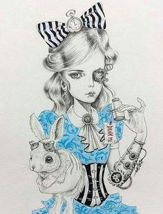 steampunk alice in wonderland drawing - Google Search