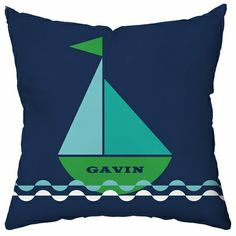 Smooth Sailing Personalized Throw Pillow