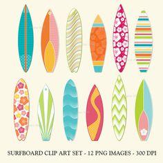 Surfboard clip art set   printable summer digital by digitalfield