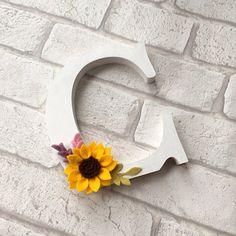 Monogram letter - felt flower - sunflower - personalised letter - personalised flowers - decorated letter - personalised wedding