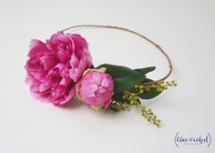 Peony Crown, Hot Pink Peony Crown, Flower Crown, Silk Peony Crown, Silk Flower Crown, Floral Crown, Flower Headpiece, Pink Peony Crown, Boho by blueorchidcreations on Etsy