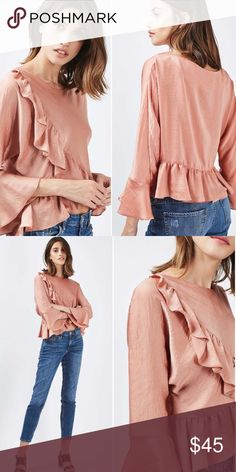 Topshop size 6 Ruffle bell sleeves beauty LAST ONE Top shop nwt sold out size 6 half off retail Topshop Tops Blouses