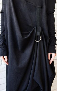 Extravagant Black Long Sleeve Dress/Plus Size Maxi Dress/Black Maxi Dress/Front Effect Long Tunic/Oversize Casual Top/Loose Black Tunic Dress Plus Size, Plus Size Maxi Dresses, Nice Dresses, Dresses With Sleeves, Black Tunic Dress, Black Long Sleeve Dress, Black Maxi, Mode Abaya, Maxi Outfits