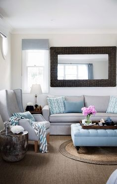 Shades of blue and natural textures House Rules, Natural Texture, Shades Of Blue, Living Spaces, Blues, Palette, Australia, Couch, Magazine