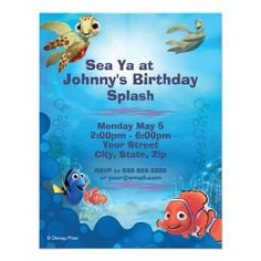 Personalized Finding Nemo Birthday Invitations are the perfect theme choice for your little Disney lover's summer birthday party.