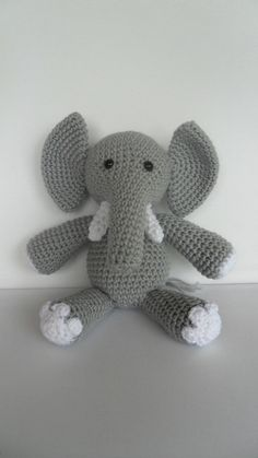 Crochet Elephant Amigurumi Toy Stuffed Animal Doll Grey and White. $32.50, via Etsy.