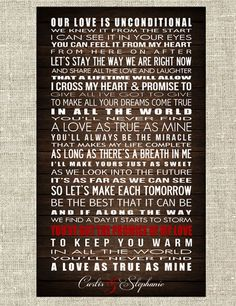 I Cross My Heart - George Straight - PRINTABLE POSTER -Customize with names and date