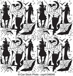 Halloween pattern with halloween symbols, magic night... stock photo - Search Photographs and Clipart Photos - csp41346040