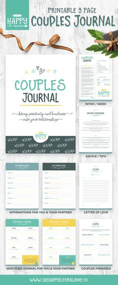 Bring positivity and kindness into your relationship with this Couple's Journal. In this relationship journal, you will complete a series of daily and weekly gratitude and affirmation exercises. This 9-page journal is the perfect gift for her or gift for him as the exercises are designed to help you gain a deeper appreciation for each other and learn to enjoy the time you spend together more.