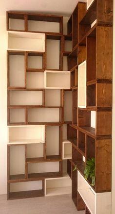 Bookcase made up of blocks - Boekenkast opgebouwd uit blokken - Design Furniture, Diy Furniture, Bookshelves In Living Room, Unique Bookshelves, Bookcases, Modular Cabinets, Modular Shelving, Modular Closets, Flur Design