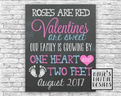Are you looking for a great way to share with your friends and family the exciting news of expecting a baby this Valentines Day? This cute chalkboard printable not only makes a great card and or photo prop but its also perfect to upload onto social media sites.  You will receive a PRINTABLE DIGITAL FILE formatted to be printed as either a 5x7, 8x10, 11x14 or 16x20 which you can print from home or at any printing shop. The JPEG file will be sent to the email address you have on file with…