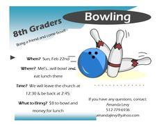 8th Grade Bowling Feb 22nd!