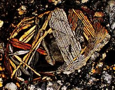 NWA 980 meteorite thin section viewed through a polarizing microscope