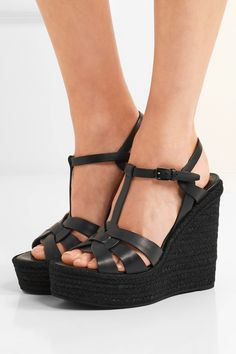 7bd85013111 Saint Laurent - Tribute leather espadrille wedge sandals