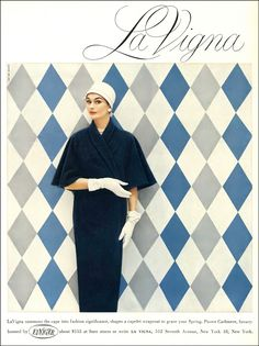 Anne Gunning in luxurious capelet wrapcoat of pure cashmere by La Vigna, hat by Emme, Vogue, February 1, 1956