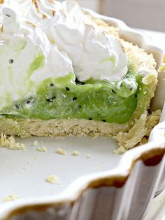 Kiwi Curd Meringue Tart. I could just top with whipped cream if desired.