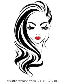 illustration of women long hair style icon, logo women on white background, vector Silhouette Clip Art, Girl Silhouette, Flower Background Wallpaper, Flower Backgrounds, Simple Wall Paintings, Art Sketches, Art Drawings, Makeup Artist Logo, Sketches Tutorial