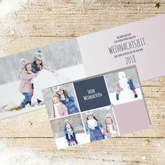 Weihnachtskarte 823 mit Collage aus Fotos und farbigen Flächen selbst gestalten