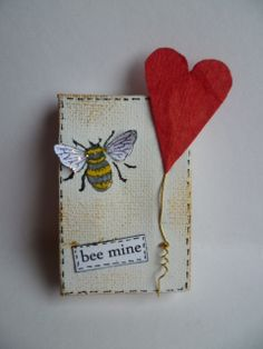 Altered canvas - bee mine - with bee and heart for Valentine's Day