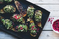 Baked Aubergine with Brussels Sprout, Beluga & Pomegranate