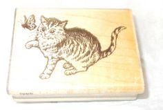 Stampendous cat rubber stamp H57 Curious Kitty kitten buttefly mounted stamps