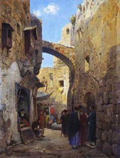 Gustav Bauernfeind (German, 1848-1904). Street Scene in Jerusalem