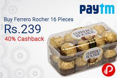 Paytm offers Ferrero Rocher 16 Pieces Rs.239 after 30% Cashback. Rs.399 – 40% Cashback Ferrero Rocher Chocolates (16 Pcs Pack). A creamy filling crunchy wafer and a delicious hazelnut center which is perhaps the favorite chocolate treat for millions of people. That's what makes Rocher's as one of best chocolates in the world. Now make your special moments even more special with something sweet like Rocher's…