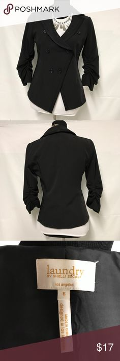 Laundry by shelli segal black blazer Black 3/4 ruched sleeve assymetric button closure Laundry by Shelli Segal Jackets & Coats Blazers
