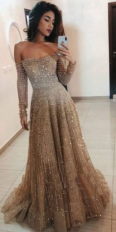 Evening dresses with sleeves - Off the Shoulder Long Sleeves Sparkle Long Prom Dresses – Evening dresses with sleeves Dresses Elegant, Cute Dresses, Most Beautiful Dresses, Formal Dresses, Evening Dresses With Sleeves, Evening Gowns, Tulle Prom Dress, Sleeved Prom Dress, Long Sleeve Gown
