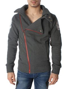 Embroidered Wing Design Mock Neck Zip Front Jacket