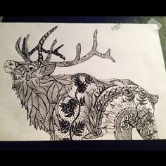 Zentangle Elk by Alysha Lee Awake Artwork