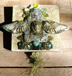 green gaea goddess shrine  mixed media mosaic by dancingbeararts, $50.00
