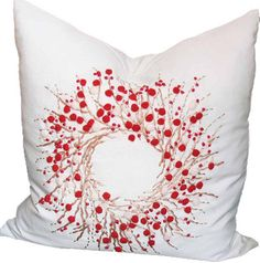 Holiday Berry Wreath Throw Pillow