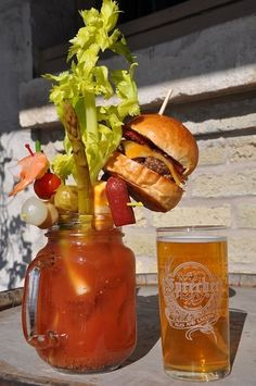 Ultimate Bloody Mary - Sobelman's, Milwaukee - Is that a bacon cheeseburger on top of that Bloody Mary? Why yes, yes it is. And if that's not enough, it comes with a beer back.