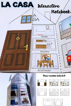 This is an activity that your students will have a lot of fun adding to their Interactive Notebooks. This is a great activity to use after you have introduced or explored this unit in class. After students are done putting the activity together, they can write about their houses. #casa #house #InteractiveNotebooks #Spanish Preschool Spanish Lessons, Spanish Classroom Activities, Spanish Teaching Resources, Spanish Lesson Plans, English Activities, Teaching English, Spanish Interactive Notebook, Interactive Notebooks, Teaching Displays