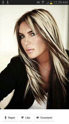 Platinum blond and dark chocolate. This is nearly identical to how I just had my hair done. I just have less blonde on the top. I love it! ~Stefani