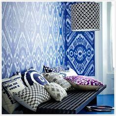 Blue Ikat Walls