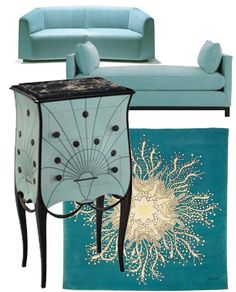 Sofa - Bernhardt Design from KEZU, Australia  Delaney day-bed from Eco Chic, Australia  Art Deco commode by Paul Iribe from Patrick+Gaguech, US  Fornasetti - Fiore Marino from Roubini Rugs, US