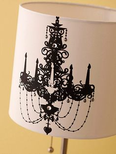 Modern Chic Lampshade - Dressing up a plain-Jane lampshade is simple with screen-printing tools and paint. Add a chandelier with bling or try one of many other designs from Plaid's Simply Screen website.