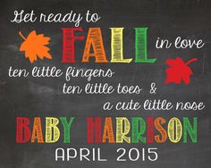 FALL Pregnancy Announcement Chalkboard by LaLaExpressions on Etsy, $10.00