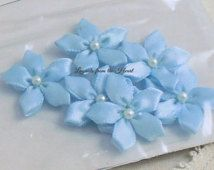 Light Blue Fabric Flowers Offray Ribbon Boutique Accessories Star Embellishments sewing applique scrapbooking crafts 10-5259