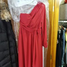 Bari Jay Bridesmaids gown Cranberry colored one shoulder bridesmaids dress. Worn once does have a slight tear/hole from heels, but can be hemed. Worn once this past December. Bari Jay  Dresses Wedding