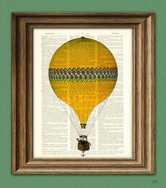 Love this idea. Maybe a sequence of 3-4 prints... Hot air ballon rising ....starting with it coming up the page Upcycled dictionary art from collegeOrama