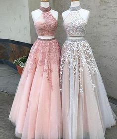 High Fashion A-Line Two-Piece High Neck Tulle Long Prom Dress with Appliques#promdress#eveningdress#dress#dresses#gowns#longpromdress