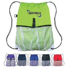 The Custom Sports Pack w/ Outside Mesh Pocket is a popular promotional product choice to show off your company logo at school festivals, golf events, trade shows, and sports events. Featuring 210 denier nylon, this drawstring backpack is tough enough to withstand most wear and tear, and even includes a mesh pocket for storage. The simulated leather trim at the corners give this bag a clean, modern, and affordable look- perfect for your next giveaway!
