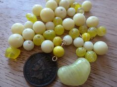 50 Vintage Mixed Yellow Glass Beads C33 by FindingYourElement